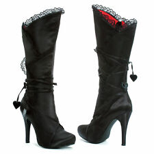 ELLIE SHOES Knee High Boots Goth Women Satin Lace 400-GOTHIKA Black