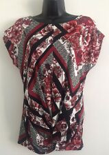 NEW Ex Ladies Burgundy Red Multi Print Front Twist Blouse Top Size 8-16