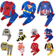 Boys Toddler Kids Super Hero Cotton Pyjamas Pj's Sleepwear T-shirt Costume Set