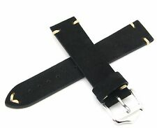 20 22 24mm Man Lady Black Suede Wrist Watch Leather Band Strap Belt Pin Buckle