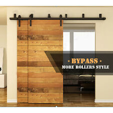 4-12FT Bypass Sliding Barn Wood Door Hardware Closet Track Rustic Rollers Kit