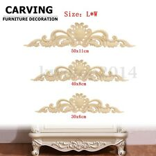 2PCS Wood Carved Long Onlay Applique Unpainted Flower Furniture Home Door Decor