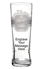 Personalised Carling Cider Engraved 1 Pint Glass  NEW 2017+ Gift Box Birthday