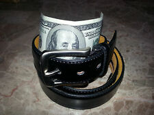 MENS LEATHER MONEY BELT / TRAVEL BELT WITH HIDDEN ZIPPER COMPARTMENT BILLS