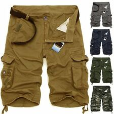 Men's Summer Army Camouflage Work Cargo Shorts Slacks Pants Trousers Mult-pocket