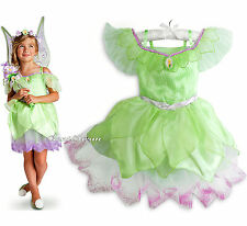 TINKER BELL Girls COSTUME DRESS FAIRY PIXIE GLITTER DISNEY STORE 4 & 7/8 NEW