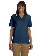 Devon & Jones Womens Tipped Perfect Pima Polo Shirt Big Sizes Only