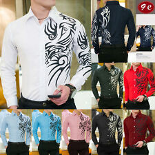 Fashion Mens Casual Shirts Slim Fit Long Sleeve Printing Casual Dress Shirts Top