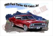 1969 Ford Torino 428 Cobra Jet Muscle Car Art Print - 7 colors