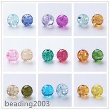 100pcs Baking Painted Crackle Glass Round Beads Craft Jewellery Mixed Colors 8mm