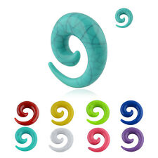 Pair of Turquoise Spiral Tribal Taper Acrylic Plug Ear Gauges 0g 00g