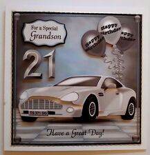 """HANDMADE 3D BIRTHDAY CARD FOR ANY AGE/RELATIVE WITH SPORTS CAR. LARGE 7 X 7"""""""