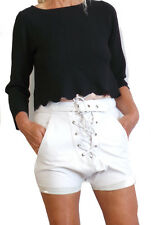 NEW ONE TEASPOON LEATHER SHORTS 26 28 4 6 8 10 WHITE $250 WOMEN DROP CROTCH