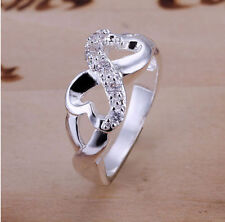 925 Silver Plated Ring Girls Jewelry Women Rings US Size 7 8 Crystal Band Hot