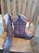 NWT Faded Glory Women's COWGIRL Boots - size 6 7.5 8  two toned brown