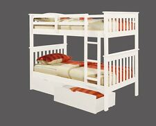 TWIN OVER TWIN BUNK BED W/ DRAWERS OR TENT OPTION - WHITE FINISH