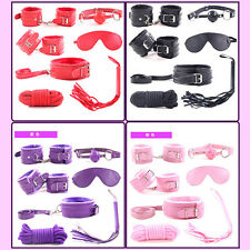 7Pcs Set Fantasy Adult Sex SM Toy Handcuffs Cuffs Strap Whip Rope Neck Bandage