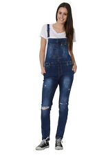 Womens Bib Overalls - Slim Fit Bib Overalls Narrow Leg Distressed Denim