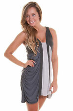 NEW FOREVER UNIQUE ISRA GREY PANEL BODYCON SCOOP NECK PARTY DRESS SIZE 8 10