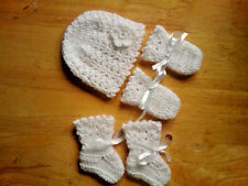 Handmade Crocheted Baby Girl Picot Hat/Mitts/Bootees 100% Acrylic Various colour