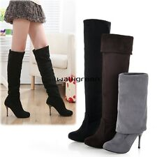 Women Sexy High Heels Over The Knee Thigh High Boots Stretch Shoes 5 6 7 8 WN