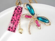 Betsey Johnson Fashion Cute inlay Crystal Dragonfly Pendant Necklace # A163H