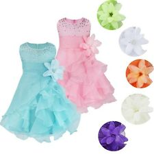USA Baby Flower Girl Pageant Wedding Bridesmaid Christening Party Princess Dress