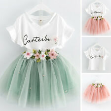 2~9Y 2PCS Kids Baby Girls T-shirt Tops+Skirt Dress Summer Child Outfits Clothes