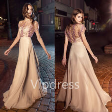 Pink Beading Evening Dresses Short Sleeve Formal Party Prom Chiffon Gowns Custom