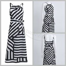 Fashion Women Stripes Halter Strappy Long Dress Party Cocktail Summer MAXI Dress