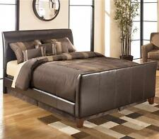 New Designer Leather Sleigh Brown Bed Frame 4FT6 Double Bed + Mattress Options