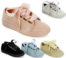 LADIES FLAT LACE UP SPORTS SHOES WOMENS CASUAL TRAINER PUMPS SNEAKERS SIZE