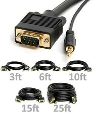 3ft 6ft 10ft 15ft 25ft SVGA VGA Cable 15Pin Male to Male PC HD TV w/ 3.5mm Audio
