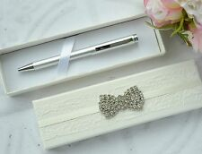 Wedding Guest Book Pen in Hand Decorated Presentation Box. Vintage Diamante Bow.