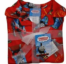 Boys Thomas the Train Flannel Pajamas 2 Piece Button Down L/Slv Red NWT Sz 2T/3T