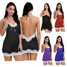 Women's Sexy Lingerie Lace Dress Underwear Backless Babydoll Sleepwear G-string