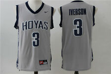 Allen Iverson #3 Georgetown Hoyas Throwback Jersey Gray Sizes S - 2XL All Sewn