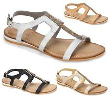 WOMENS LADIES DIAMANTE STRAPPY LOW WEDGE SHOES SUMMER GLADIATOR SANDALS FLATS SI