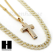 ICED OUT JESUS CROSS PENDANT 6mm CUBAN/12mm ICED OUT CUBAN CHAIN NECKLACE S024