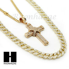 ICED OUT JESUS CROSS PENDANT 6mm CUBAN/12mm ICED OUT CUBAN CHAIN NECKLACE S028