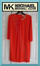 MICHAEL KORS NEW Gold Twisted Chain 3/4-Sleeves Orange Polyester Shift Dress