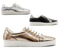 LADIES WOMENS GIRLS FLAT METALLIC LACE UP PLIMSOLLS PUMPS TRAINERS SHOES SIZE