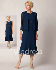 Navy Blue Chiffon Mother Of The Bride Dresses 3/4Sleeve Keen Length Evening Gown