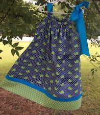 NAVY WHALES/ LIME GREEN PILLOWCASE DRESS KIT WITH OPTIONAL PATTERN
