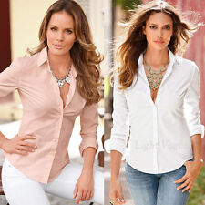 New Womens Fashion Casual Summer Shirt Slim Fit Long Sleeve Cotton Top Blouse qf