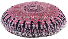 "Indian Ethnic Mandala Floor Pillow 32"" Round Cushion Cover Throw With Insert"