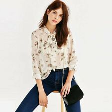 New Summer Fashion Women V Neck Bow Tie 3/4 Sleeve Floral Pronted Chiffon Blouse