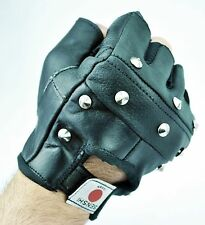Uk Warrior Real Leather Studded Gloves Biker Driving Cycling Wheelchair GYM New