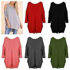 NEW WOMENS LADIES CUT OUT COLD SHOULDER BATWING LONG TOP TUNIC DRESS PLUS SIZE 8