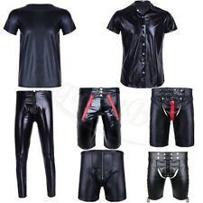 Sexy Mens Patent Leather Short Sleeves Shirt&Short Clubwear Undershirts Costume